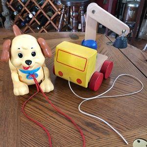 VINTAGE FISHER PRICE Puppy & IKEA Wooden Crane